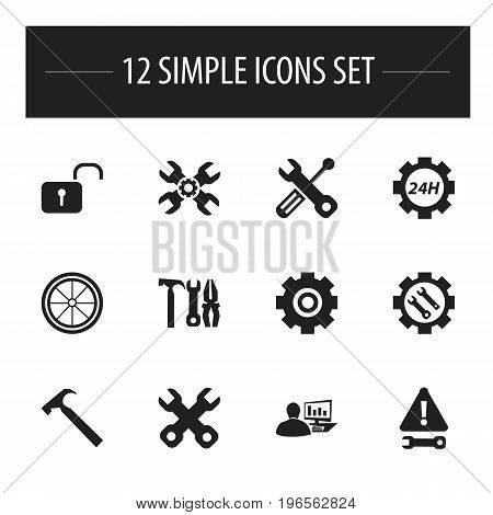 Set Of 12 Editable Tool Icons. Includes Symbols Such As Spanner, Gear, Build Equipment And More