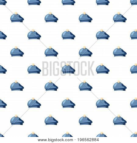 Blue hat with a pompon pattern seamless repeat in cartoon style vector illustration
