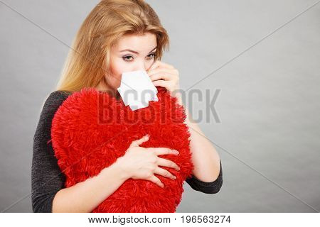 Sad, Heartbroken Woman Crying Having Depression