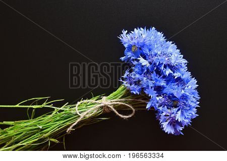 blue cornflowers bouquet, tied up with flax rope, over black chalkboard background