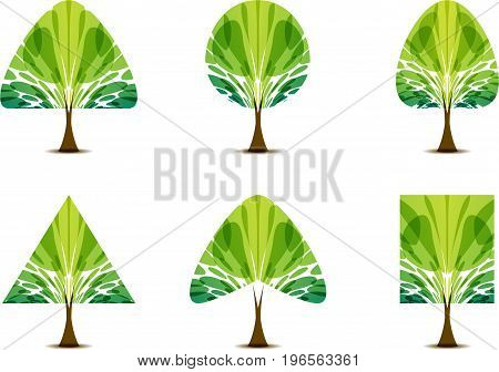 Green trees icon set with various foliage and crown shapes on white background