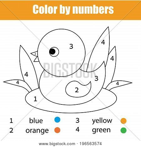 Coloring page with duck bird. Color by numbers educational children game, drawing kids activity, printable sheet. Animals theme