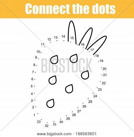 Connect the dots children educational drawing game. Dot to dot by numbers game for kids. Printable worksheet activity