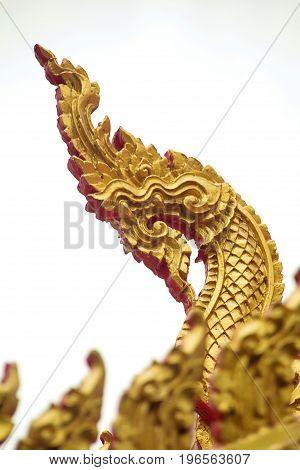 Naga on the roof of Luang Phor Ngern 700 Year Temple or Wat Paknam Boong Sapang Ubonratchathani.