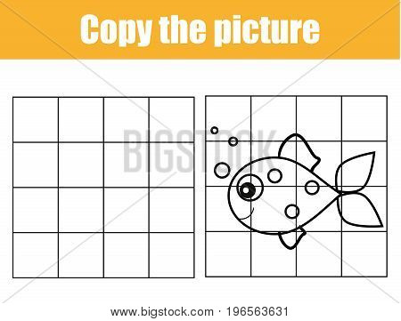 Grid copy game, complete the picture educational children game. Printable kids activity sheet with fish. Copy the picture