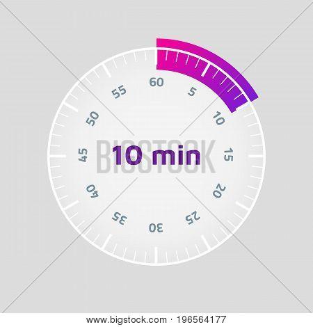 Ten-minute timer. Vector illustration. Light background. Eps10.