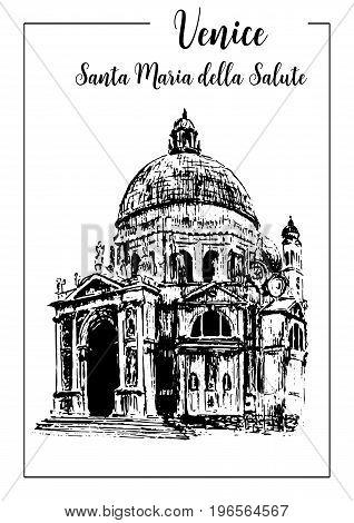 Santa Maria della Salute. Venice architectural symbol. Church Beautiful hand drawn vector sketch illustration. Italy. For prints textile advertising poster label City panorama tourism postcard