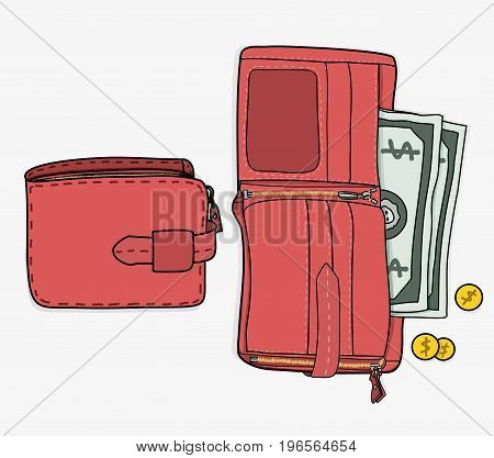 OPEN WALLET WITH MONEY AND CLOSED WALLET illustration vector