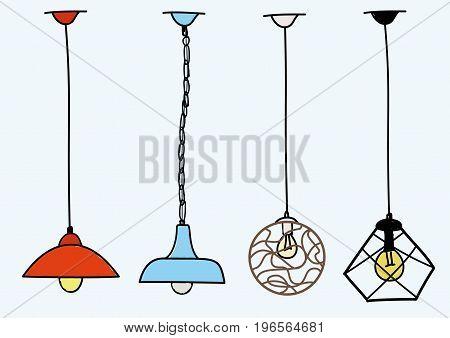 Modern Chandelier, pendant lighting set illustration vector