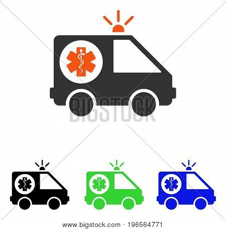 Ambulance Car vector pictogram. Illustration style is a flat iconic colored symbol with different color versions.