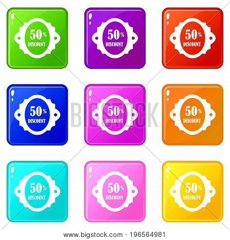 Sale label 50 percent off discount icons of 9 color set isolated vector illustration