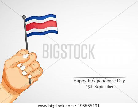 illustration of hand holding Costa Rica flag with Happy Independence Day 15th September text on the occasion of Costa Rica Independence Day