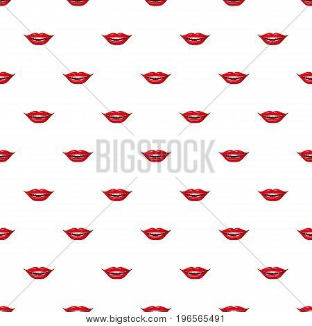 Red lips pattern seamless repeat in cartoon style vector illustration