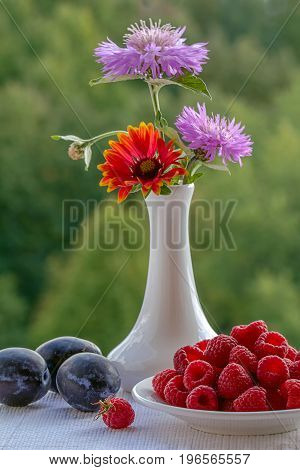On the window of the raspberries in a bowl, the prunes and the bouquet of flowers. On green background berries, fruits and a vase with flowers. White ceramic vase with wildflowers.