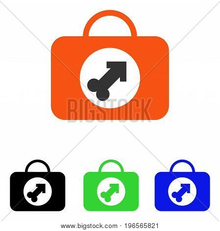 Male Erection Case vector pictograph. Illustration style is a flat iconic colored symbol with different color versions.