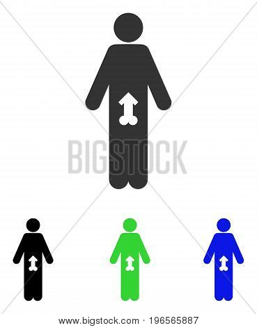 Male Potence vector icon. Illustration style is a flat iconic colored symbol with different color versions.