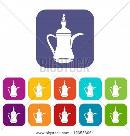 Oriental teapot icons set vector illustration in flat style in colors red, blue, green, and other