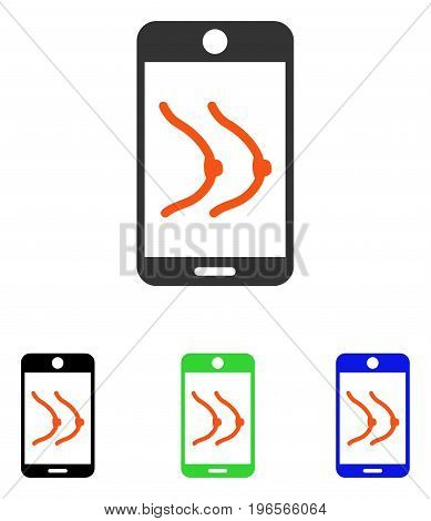 Mobile Erotics vector pictogram. Illustration style is a flat iconic colored symbol with different color versions.