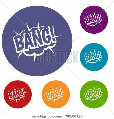 Bang, speech bubble explosion icons set in flat circle red, blue and green color for web