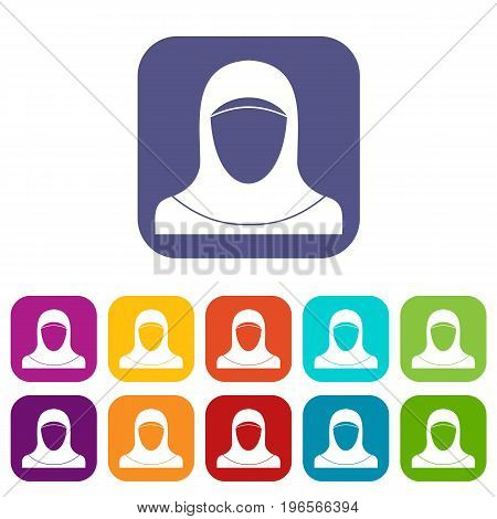Muslim women wearing hijab icons set vector illustration in flat style in colors red, blue, green, and other