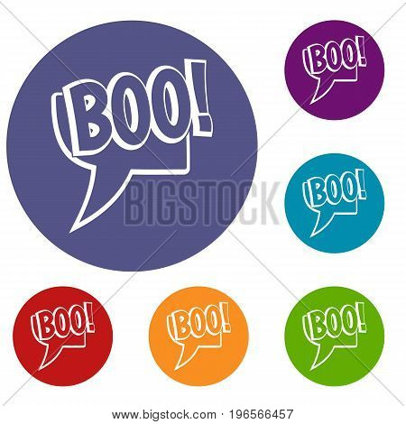 BOO, comic text speech bubble icons set in flat circle red, blue and green color for web
