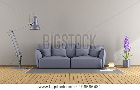Purple Sofa In A Modern Living Room