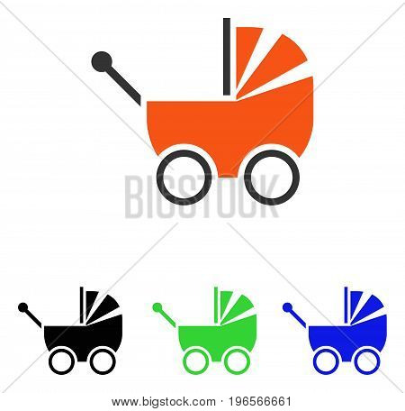 Baby Carriage vector pictograph. Illustration style is a flat iconic colored symbol with different color versions.