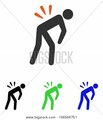 Backache vector icon. Illustration style is a flat iconic colored symbol with different color versions.