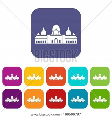 Sheikh Zayed Grand Mosque, UAE icons set vector illustration in flat style in colors red, blue, green, and other