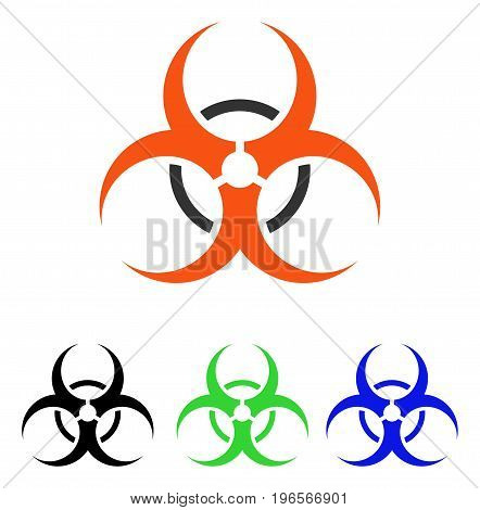 Bio Hazard vector pictogram. Illustration style is a flat iconic colored symbol with different color versions.