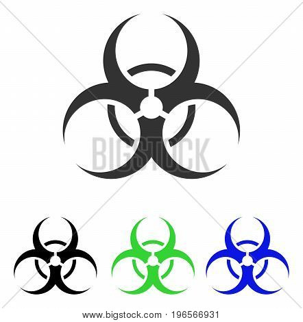 Biohazard Symbol vector pictogram. Illustration style is a flat iconic colored symbol with different color versions.