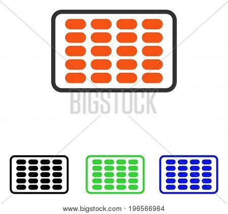 Blister vector pictogram. Illustration style is a flat iconic colored symbol with different color versions.