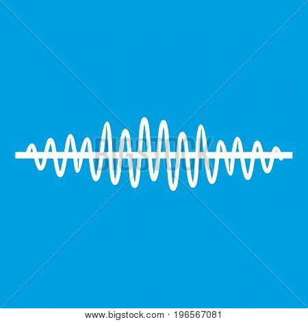 Sound wave icon white isolated on blue background vector illustration