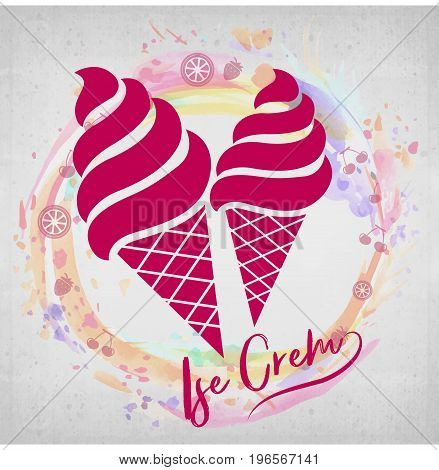 Sorts of Ice Cream in a waffles. Registration of a logo from two wafer cups of ice cream. Vector illustration