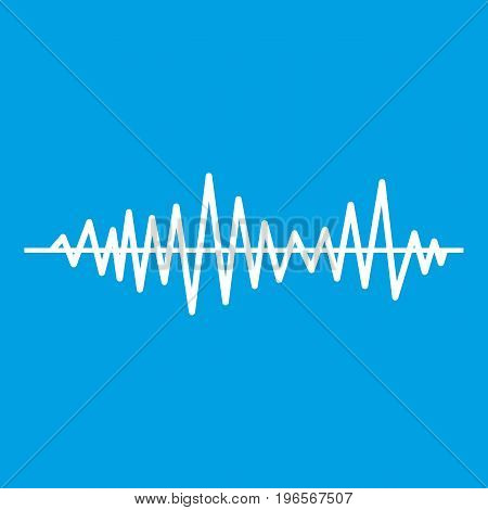Music sound waves icon white isolated on blue background vector illustration