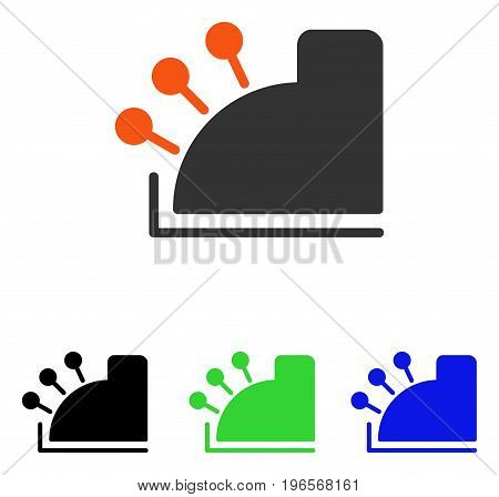 Cash Machine vector icon. Illustration style is a flat iconic colored symbol with different color versions.