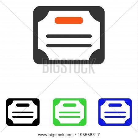 Certificate vector pictograph. Illustration style is a flat iconic colored symbol with different color versions.