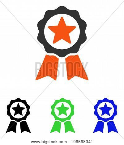 Certification Seal vector pictogram. Illustration style is a flat iconic colored symbol with different color versions.