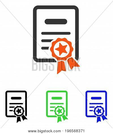 Certified Diploma vector icon. Illustration style is a flat iconic colored symbol with different color versions.