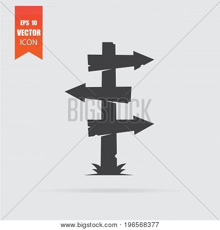 Wooden Sign Icon In Flat Style Isolated On Grey Background.