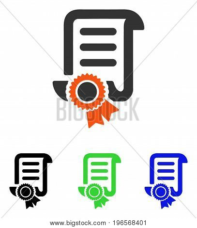Certified Scroll Document vector pictogram. Illustration style is a flat iconic colored symbol with different color versions.