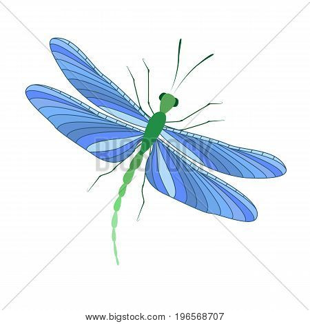 Vector illustration of a dragonfly on a white background. A brightly colored dragonfly in flight