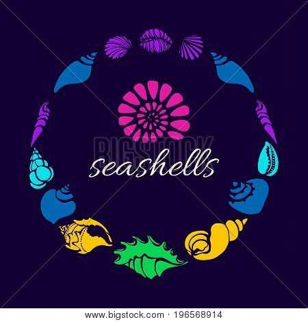 Color set of silhouettes of sea shells in circle. Shell conch spiral helix. Symbol of undersea world. Place for text. Vector shape. Template for greeting card wallpaper background.