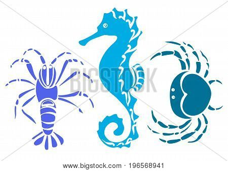 Set of crab sea horse cancer. Sketch style vector illustration. Marine collection.