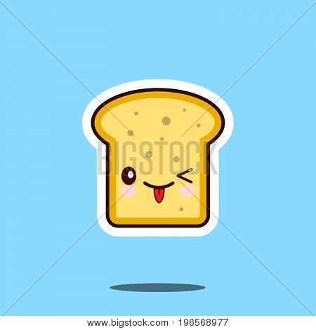 Toast kawaii cute design flat cartoon icon Vector Illustration