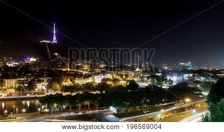 Night View Of Tbilisi, Capital Of Georgia