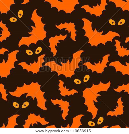 Halloween seamless pattern with bright bats and eyes on dark background. Modern styled flat design. REcomended for holiday banners, textile, paper cards, seasonal wallpapers, party decoration