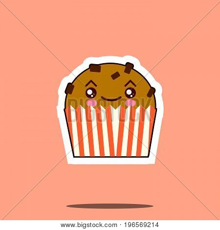 Cute kawaii cupcake Funny emoticon face icon. Flat design Vector Illustration