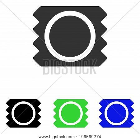 Condom vector pictograph. Illustration style is a flat iconic colored symbol with different color versions.