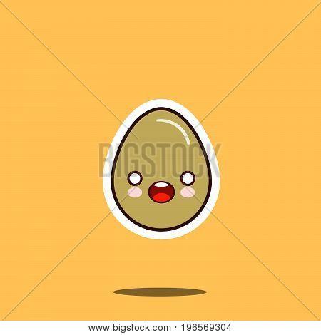 Cute happy egg kawaii character cartoon emoticon face icon. Flat design Vector Illustration